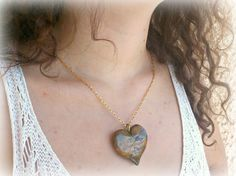 Tiger eye imitation polymer clay heart pendant OOAK October original jewelry,Ready to ship,Greek shop by SueEllenDreamland on Etsy Polymer Clay, Greek, October, Ship, Pendant Necklace, Eye, The Originals, Trending Outfits, Heart