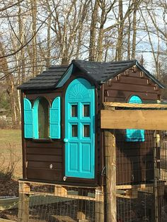 Playhouse chicken coop. I took a Little Tykes playhouse and made it into a chicken coop.