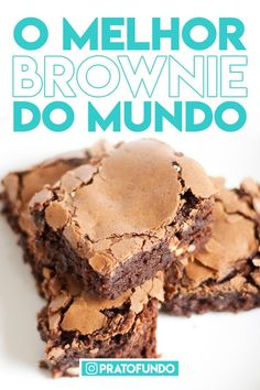 O Melhor Brownie do Mundo These are the ultimate brownie rich, dense, and fudgy with a deep to-die-for chocolate flavor. Cookie Dough Cake, Chocolate Chip Cookie Dough, Chocolate Brownies, Chocolate Desserts, Caramel Brownies, Healthy Chocolate, Lemon And Coconut Cake, Snack Recipes, Dessert Recipes