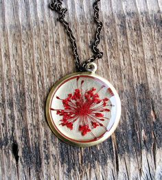 Pressed Red Queen Anne's Lace Flower Necklace by KateeMarie on Scoutmob