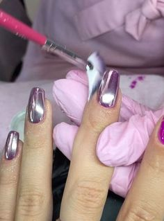 10 Stunning Chrome Nail Ideas To Rock The Latest Nail Trend: #1. Metallic Purple Chrome