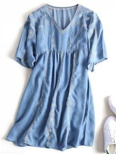 Embroidered Casual Shift Dress - Denim Blue L
