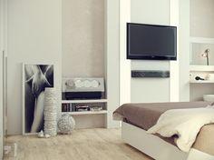 Stunning Modern Bedroom Ideas in Various Color : White Cream Bedroom Decor Modern Bedroom Ideas White Wooden Floor