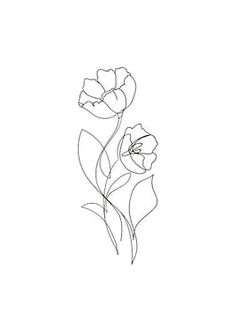 Line Art Flowers, Flower Line Drawings, Simple Line Drawings, Flower Art, Simple Flower Drawing, Botanical Line Drawing, Botanical Art, Art Sketches, Art Drawings