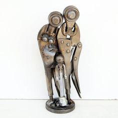 Metal figurative family sculpture available for sale Family Sculpture, Sculpture Art, Industrial Sculptures, Scrap Car, Metal Workshop, Kinetic Art, Scrap Metal Art, Art Object, Modern Industrial
