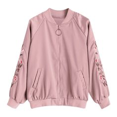 Zip Up Floral Embroidered Pilot Jacket ($30) ❤ liked on Polyvore featuring outerwear, jackets, pink zip up jacket, floral embroidered jacket, zip up jackets and pink jacket