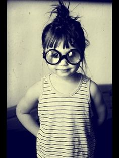 Little kid, big glasses!