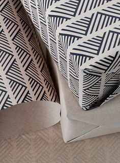 Wrapping paper from Smock . luv the strong graphic design . rows of chevrons made with lines . Branding And Packaging, Paper Packaging, Packaging Design, Brown Paper Packages, Origami, Poster S, Pretty Patterns, Pretty Designs, Tampons