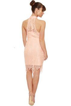 Elaine Floral Lace Halterneck Dress | WearAll