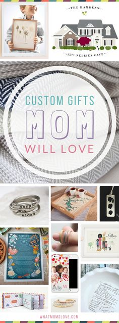 Unique personalized gift ideas for Mom (or Grandma!) | Meaningful custom gifts from your kids (toddlers to teens) or grandkids. Perfect for Mothers Day, birthday, Christmas of the Holidays. Buy her something she'll fall in love with this year! Thoughtful custom jewelry, keepsakes, kitchen, home and decor ideas.