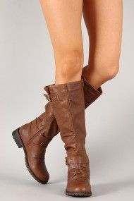 Travis-01 Buckle Riding Knee High Boot