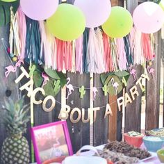 A Flamingesta: a flamingle and a fiesta in one! Taco bout a party. Baby girl first birthday party. ****Fantastic inspiration for the decor for Millie's Taco TWOsday! Baby Party, Party Time, Party Ideas, Cadeau Baby Shower, Idee Baby Shower, Grad Parties, First Birthday Parties, First Birthdays, Cactus