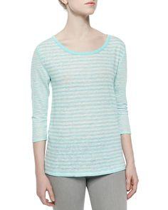 Kilinda Yarn-Dyed Linen Slub Tee, Size: LARGE, Htr Dsty Seagrass - Joie
