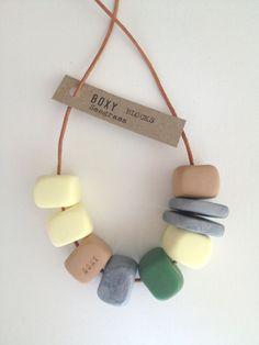 SEAGRASS Boxy Block Bead Fimo Necklace - Green, Vanilla, Tan