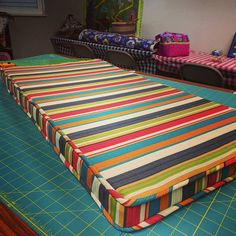 Karen's latest creation: a bench cushion for her patio!  #sewing #sewingroom #embroidery #quilting #serger #sewinglove #diy #crafts #babylocksewing #babylock #myerssewing