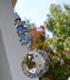 "10"" Long Beautiful Stunning Big 50mm Dahlia Swarovski Crystal Rainbow Suncatcher Lots of Triangle Facets Home Decor Hanging Window Crystal"