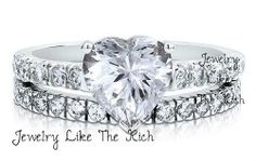 2.5ct. Heart Diamond Wedding Ring Bridal Band Set .925 Sterling Silver 5 6 7 8 9
