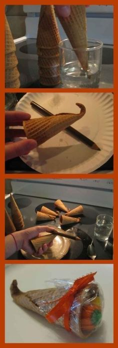 Make an ice cream cone cornucopia. | 30 Cute And Clever Ways To Decorate For Thanksgiving