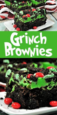 christmas brownies favorite holiday grinch recipe yummy movie for our the Grinch Brownies Yummy Christmas recipe for our favorite holiday movie The GrinchYou can find Christmas dessert recipes and more on our website Dessert Party, Bon Dessert, Milk Dessert, Dessert Food, Pumpkin Dessert, Christmas Food Treats, Christmas Cooking, Christmas Brownies, Christmas Parties