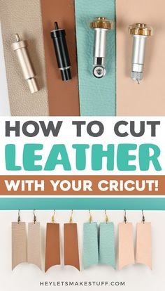 How to Cut Leather with Your Cricut DIY leather crafts, decor, and fashion are super trendy. I'll show you how to cut leather with the Cricut Explore and Maker to make working with this tough material a little easier! Leather Diy Crafts, Leather Projects, Crafts To Make And Sell, Diy Crafts For Kids, Creative Crafts, Craft Ideas, Cricut Iron On Vinyl, Cricut Stencils, Cricut Craft Room
