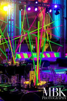 These colorful rods are such a simple yet fun accent for the kids rectangular tables