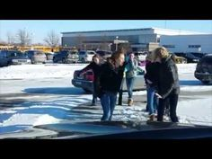 A bored Dad video tapes students slipping on the ice for 5 minutes waiting for his daughter to get out of school. #wipeout