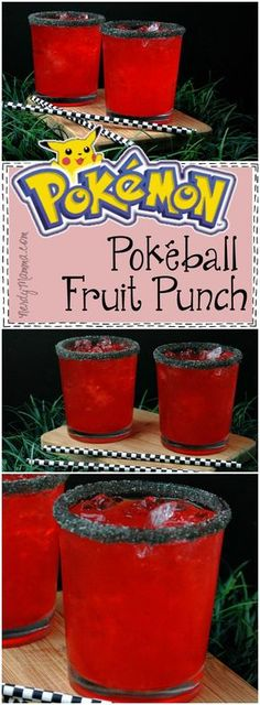 This is the BEST recipe! A Pokeball Fruit Punch? So simple--and sounds so yummy. I can't wait to make it for my next Pokemon Go! Disney Cocktails, Party Drinks, Fun Drinks, Alcoholic Drinks, Mixed Drinks, Beverages, Party Party, Pokemon Birthday, Pokemon Party