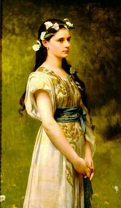 ⊰ Posing with Posies ⊱ paintings of women and flowers - Jules Joseph Lefebvre: Portrait of Julia Foster Ward 1880