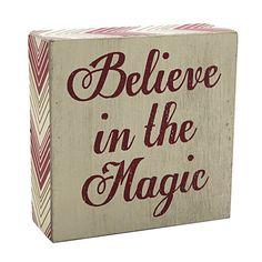 """Believe Magic Chevron Box Sign, Ecru, 5"""" x 5"""" in color ."""