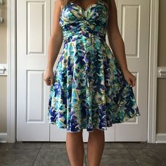 Watercolor Halter Dress  Beautiful summer dress, only worn two times! In perfect condition! Fully lined. Zipper back. Adjustable tie neck. Silky, flows, and so much fun! Says size 5, fits like a 4. No trades, make an offer! Check out my 25% off 2 bundle discount! Ruby Rox Dresses