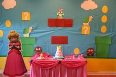 Princess Peach from Super Mario Brothers birthday party Super Mario Party, Super Mario Birthday, Mario Birthday Party, Birthday Parties, Birthday Ideas, 25th Birthday, Birthday Cake, Princess Peach Party, Mario And Princess Peach