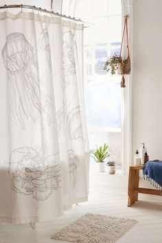 Glow-In-The-Dark Jelly Fish Shower Curtain