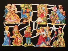 Láminas de cromos troquelados-Pareja de niños, cromos alemanes