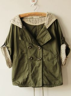 Green Bat Sleeve Hooded Trench Coat from UsTrendy. Shop more products from UsTrendy on Wanelo. Winter Outfits, Cool Outfits, Winter Clothes, Hooded Trench Coat, Shabby, Bat Sleeve, Sweater Hoodie, Parka, What To Wear