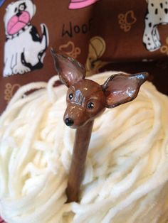 Hand Sculpted Brown Chihuahua Crochet Hook  Susan by WendyLayne, $18.95