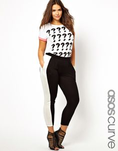 ASOS Curve | ASOS CURVE Jersey Peg Trouser With Side Stripe at ASOS