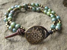 Czech glass and brass bracelet