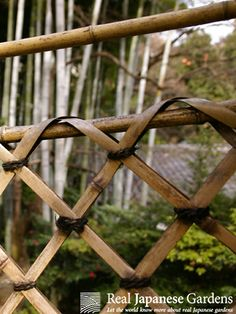 This kind of garden gate is called Shi-ori-do (枝折戸), which means bent-branch-door. Split bamboo is woven in a diagonal pattern, a design which leads the visitors eye to what lies behind the door. Often used in Japanese tea gardens (路地). Happō-en garden in Tokyo (八芳園)    eBook on low Japanese garden fences: http://www.japanesegardens.jp/elements/000108.php  Happō-en  (八芳園): http://www.japanesegardens.jp/gardens/secret/000104.php