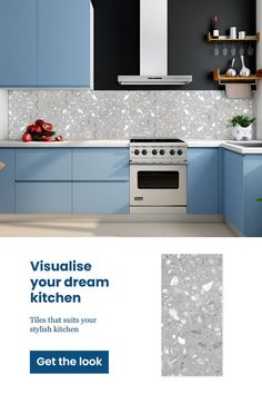 Easy to clean, durable and low maintenance tiles that help you to unleash your creativity! Co-ordinate them with different colours and lay them in different patterns to transform your spaces to oases of beauty. See this tile in your space with the Trialook visualiser tool. #kitchentiles #walltiles #ceramictiles #dreamkitchen