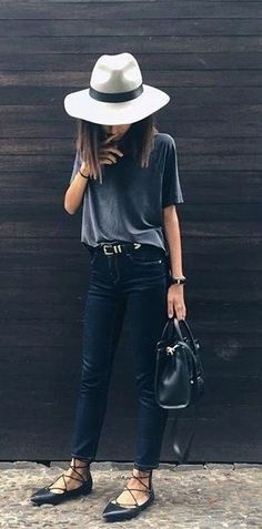 streetwear outfit idea with hat and lace up flat