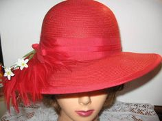 Michelle Red Straw Hat With Faux Feather Size 21 Diameter 4'' Wide Brim Vintage  #Derbystyletop