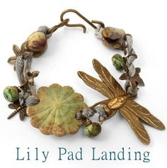 """In the """"Lily Pad Landing"""" bracelet, Betsy knotted a silk while adding beads and Vintaj elements, such as our popular Art Deco Dragonfly, Princess Dragonfly Charm and Violet Sprigs along the way. It gives the bracelet an organic look, perfect for this theme!"""