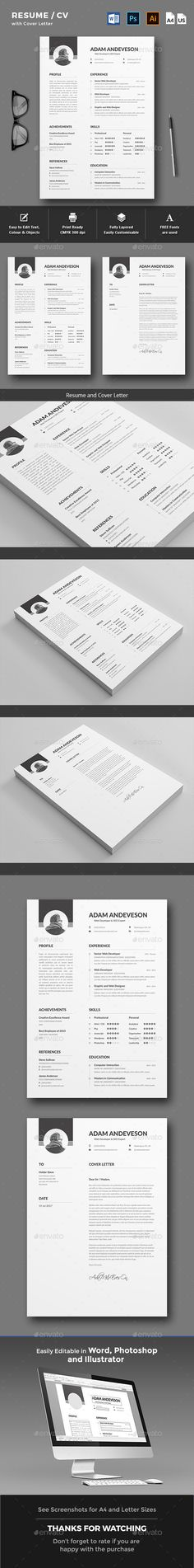 Buy Resume / CV by yellowkyte on GraphicRiver. Resume / CV Template A professional and clean Resume Template with Cover Letter to make a good impression. College Resume Template, Simple Resume Template, Creative Resume Templates, Cv Template, Cv Design, Resume Design, Stationery Design, Cv Curriculum Vitae, Resume Examples