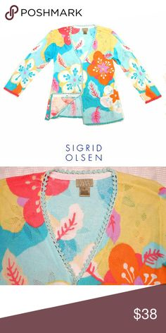 "SIGRID OLSEN BRIGHT & SPRINGY CARDIGAN SIGRID OLSEN BRIGHT & SPRINGY CARDIGAN  Pre-Loved  / EUC 💙 BEAUTIFUL & BRIGHT! 💙 RN 67992 CA 19117 SZ MEDIUM 56% Cotton  44% Rayon This is SUCH a Splash of Color for  Spring! Approx Meas;    *   Armpit to Armpit   20""    *   Back Neckline to Hem L.   23""    *   Sleeve Length   13"" Pls See All Pics. Ask ? If Not Sure Sigrid Olsen Sweaters Cardigans"