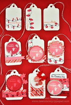 Papertrey Ink Holiday Lights stamp set.  tag set Inks:  PTI black, pure poppy, berry sorbet