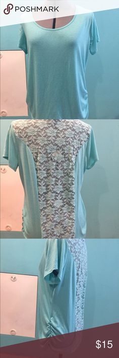Cute size 2X Deb teal tee with lace detail in back This is just as cute as can be! Teal in color, lace in back, little gathering on the sides. I just purchased from another Posher. I love it, it fit, but it is a little form fitting for me. So I'll put it out there for someone else to love! This is in great condition as well. Deb Tops Tees - Short Sleeve