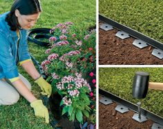 Pull the edging out of the box, bend it around your flowerbed and insert the metal spikes to hold it in place. No digging, no mess – oh, and you just added a new flowerbed border in minutes!