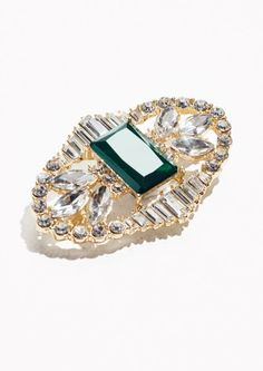 Front image of Stories crystal brooch with large gem in green Best Gifts Under 50, Crystal Brooch, Jewelry Shop, Jewellery Box, Accessories Shop, Great Gifts, Sapphire, Gems, Crystals