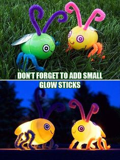 Lightning bug hunt- Easter eggs (body), glow sticks (light), pipe cleaners (antenna & legs), stickers/draw on (eyes and mouth), and fake leaves/construction paper cutouts (wings)
