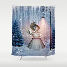 Funny snow women with bird Shower Curtain by